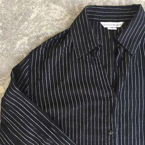 Bianca Nygard Pinstriped Sheer Button Down Shirt